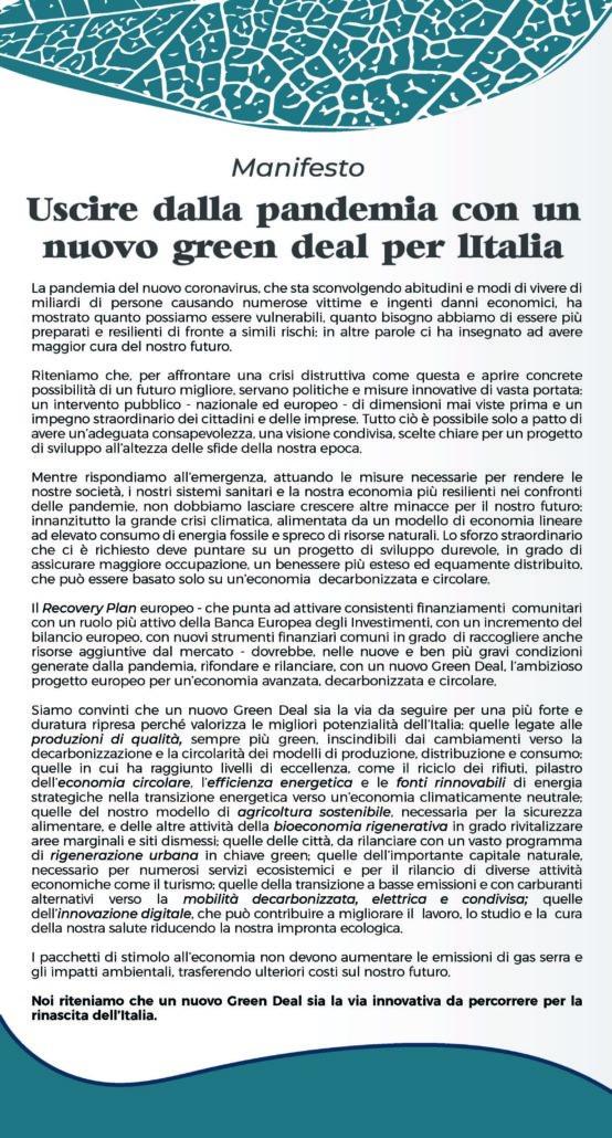 Manifesto Green deal Italia